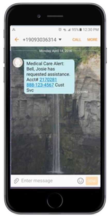 smartphone with SMS text message medical alert